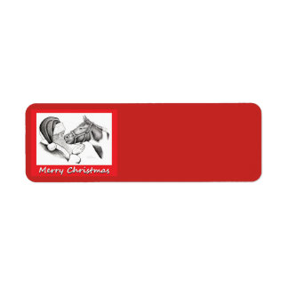 Santa Claus and Horse for Christmas Return Address Label