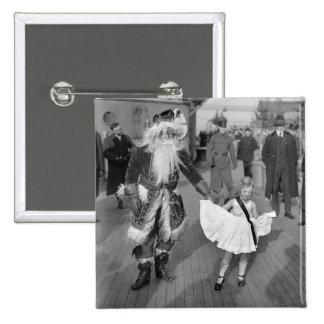 Santa Claus and Little Girl on Deck, 1925 Pin