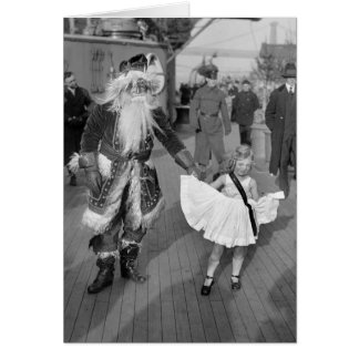 Santa Claus and Little Girl on Deck, 1925 Greeting Card