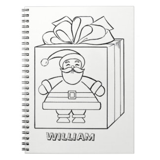 Santa Claus and Present Color Me Personalized Notebook