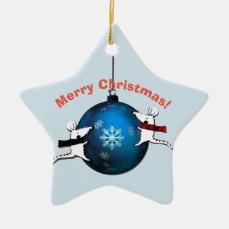 Santa Claus and Rats Ceramic Ornament