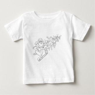 Santa Claus and Reindeer Christmas Sleigh Sled Baby T-Shirt