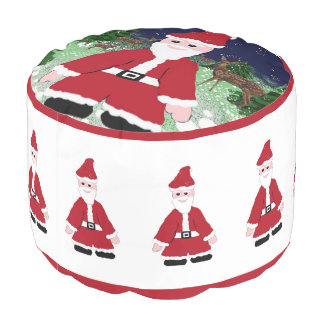 Santa Claus and Reindeer Pouf
