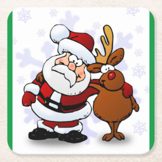 SANTA CLAUS AND RUDOLPH SQUARE PAPER COASTER