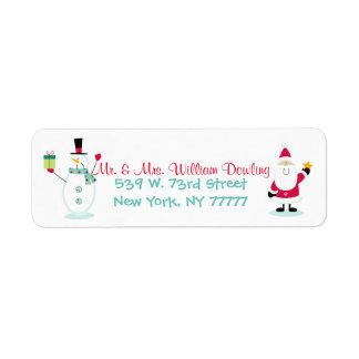 Santa Claus and Snowman Christmas Return Address Return Address Label