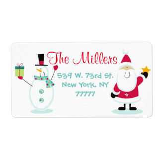 Santa Claus and Snowman Christmas Return Address Shipping Label