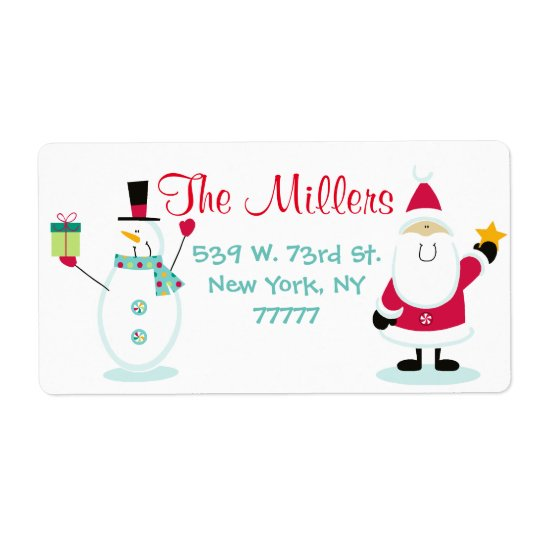 Santa Claus and Snowman Christmas Return Address Shipping Label