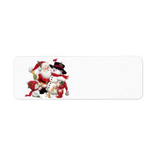 Santa Claus and Snowman Return Address Label