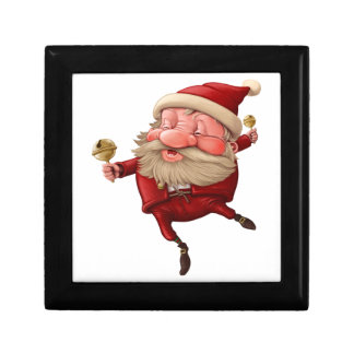 Santa claus and the bell's dancing gift box