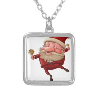 Santa claus and the bell's dancing silver plated necklace