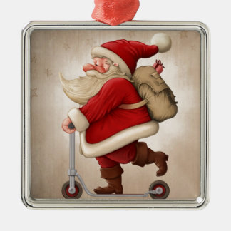 Santa Claus and the Push scooter Metal Ornament