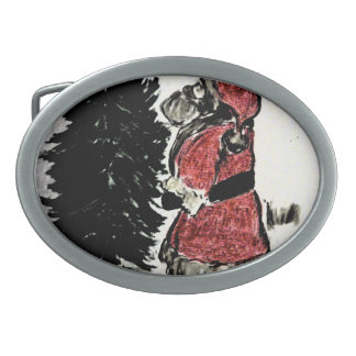 Santa Claus and Tree Oval Belt Buckles