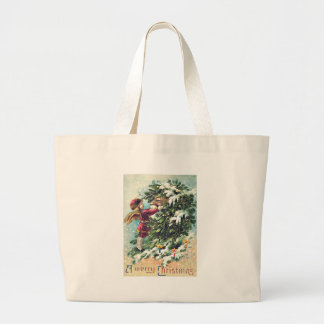 Santa Claus Angel Cherub Mistletoe Large Tote Bag