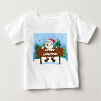 Santa Claus at the back of a wooden signboard Baby T-Shirt