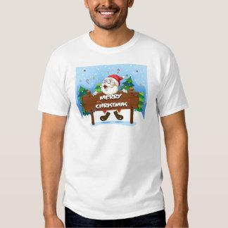 Santa Claus at the back of a wooden signboard Shirts