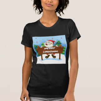 Santa Claus at the back of a wooden signboard T-Shirt