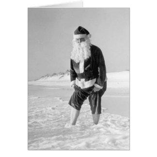 Santa Claus at the beach Card