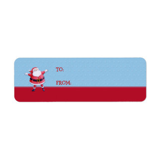 Santa Claus blue Gift Tag Label Return Address Label