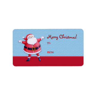 Santa Claus blue Gift Tag Label Address Label