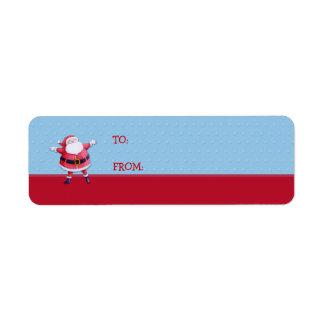 Santa Claus blue Gift Tag Label Return Address Label