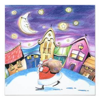 Santa Claus Card 13 Cm X 13 Cm Square Invitation Card