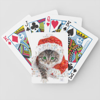 santa claus cat - cat collage - kitty - cat love bicycle playing cards