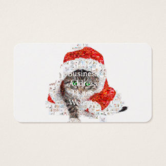 santa claus cat - cat collage - kitty - cat love business card