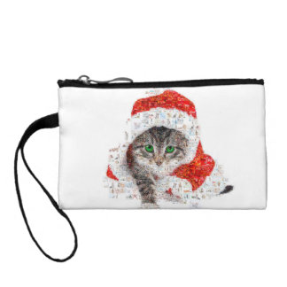 santa claus cat - cat collage - kitty - cat love coin purse