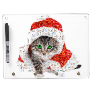 santa claus cat - cat collage - kitty - cat love dry erase board with key ring holder