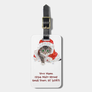 santa claus cat - cat collage - kitty - cat love luggage tag