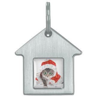 santa claus cat - cat collage - kitty - cat love pet ID tag