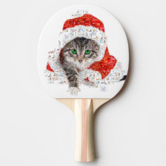 santa claus cat - cat collage - kitty - cat love ping pong paddle