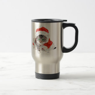 santa claus cat - cat collage - kitty - cat love travel mug