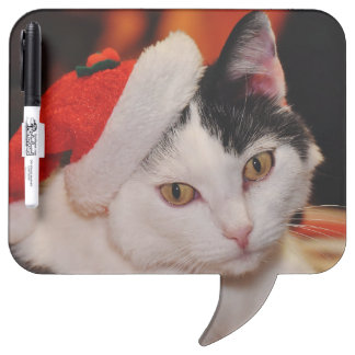 Santa claus cat - merry christmas - pet cat dry erase board