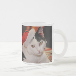 Santa claus cat - merry christmas - pet cat frosted glass coffee mug