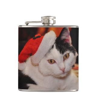 Santa claus cat - merry christmas - pet cat hip flask
