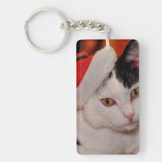 Santa claus cat - merry christmas - pet cat key ring