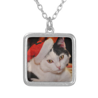 Santa claus cat - merry christmas - pet cat silver plated necklace