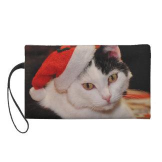 Santa claus cat - merry christmas - pet cat wristlet