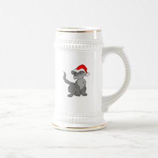 Santa Claus cat with a red santa hat Beer Stein