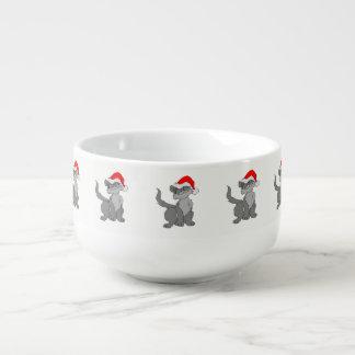 Santa Claus cat with a red santa hat Soup Mug