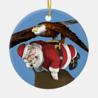 Santa Claus Caught By Bald Eagle Ceramic Ornament