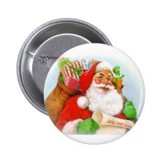Santa Claus -Checking His List Pinback Button