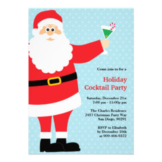 Santa Claus Christmas Cocktail Party Invitation