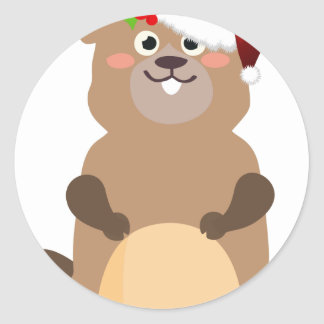Santa Claus christmas gopher Classic Round Sticker
