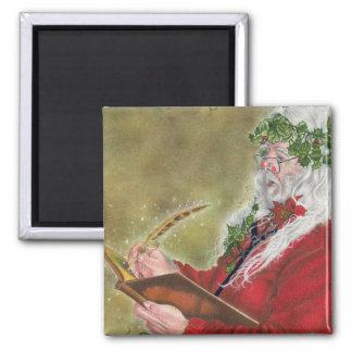 Santa Claus Christmas List Square Magnet
