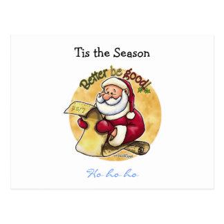 Santa Claus Christmas List Postcard