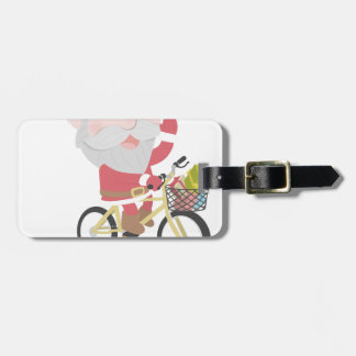 santa claus christmas reindeer snow man luggage tag