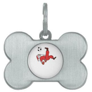 Santa claus Christmas soccer player Pet Name Tag