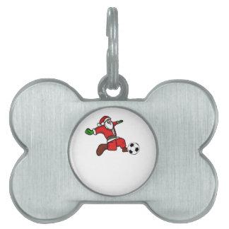 Santa claus Christmas soccer player Pet Tag